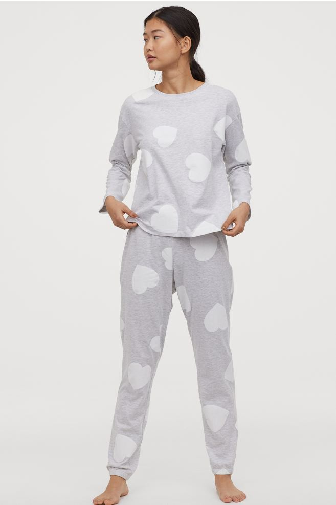 H&M pajama set gray with white hearts